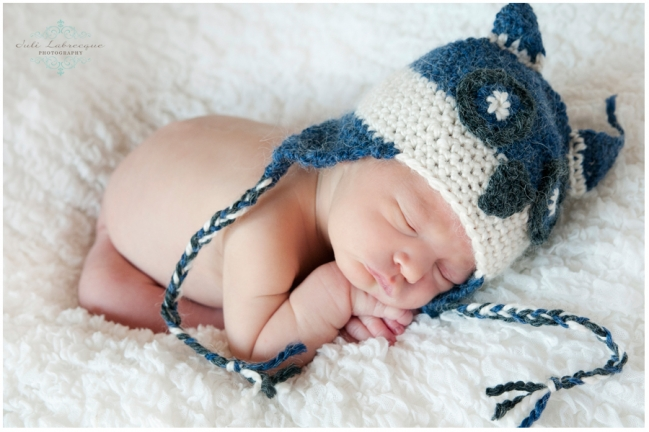Blue and white Owl touque